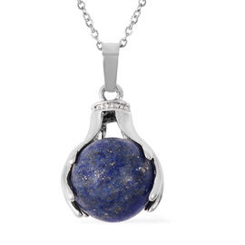 35.50 Ct Lapis Lazuli Solitaire Pendant with Chain in Stainless Steel