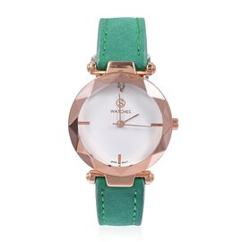 Designer Inspired STRADA Japanese Movement White Austrian Crystal Studded Water Resistant Watch in Rose Gold Tone with Green Strap.