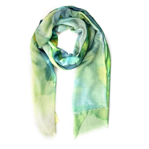 Designer Inspired-Dark and Light Green and Multi Colour Art Round Shape Colour Block Pattern Scarf (Size 170x75 Cm)