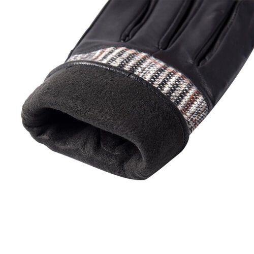 100% Genuine Leather Plaid Pattern Gloves with Bowknot - Black