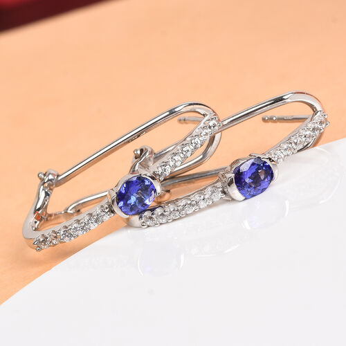 AAA Tanzanite and Natural Cambodian Zircon Earrings (with Clasp) in Platinum Overlay Sterling Silver 1.07 Ct.
