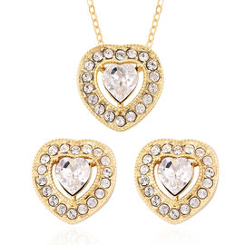 2 Piece Set - J Francis Crystal from Swarovski White Crystal (Hrt and Rnd) Pendant with Chain (Size
