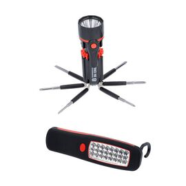 2 Piece Set - LED Work Light (Size 14x4.5cm) and Tool Set (Size 20x6x3cm) - Red and Black