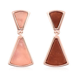 Isabella Liu Dance of Ginkgo - Rose Quartz and Red Jade Drop Earrings (with Push Back) in Rose Gold