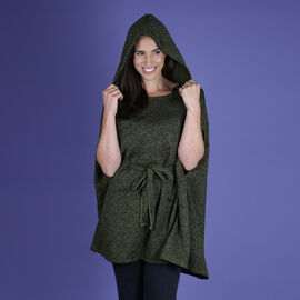 Green Knitted Poncho with Waistbelt (Size 55x77cm)