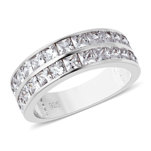 ELANZA Simulated Diamond Half Eternity Band Ring in Rhodium Plated Sterling Silver