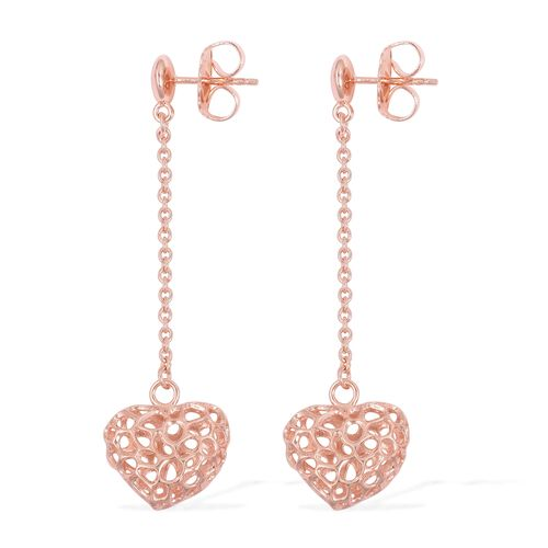 RACHEL GALLEY Rose Gold Overlay Sterling Silver Lattice Heart Earrings (with Push Back), Silver wt. 5.39 Gms.