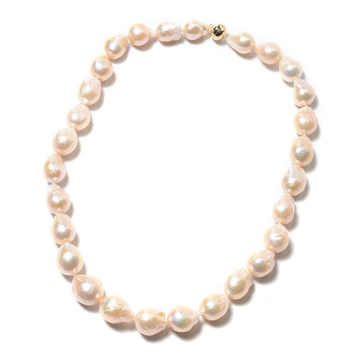 ILIANA Baroque Peach Edison Pearl Beaded Necklace in 18K Gold 20 Inch