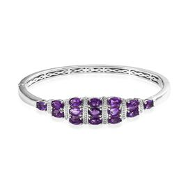 OTO - Amethyst (Ovl) Bangle (Size 7.5) in Platinum Plated 6.50 Ct.