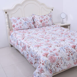 4 Piece Set - Serenity Night Off-white with Multi Colour Floral Print Comforter (220x225cm), Fitted
