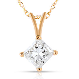 New York Close Out Deal - 14K Yellow Gold EGL Certified Diamond (Sqr) (I1/I2/G-H) Pendant with Chain (Size 18) 0.500 Ct.