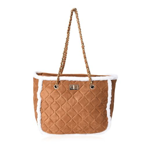 Quilted Pattern Tote Bag with Suede Chain Shoulder Strap and Zipper Closure (Size 31x25x14 Cm) - Tan