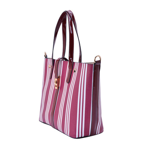 Set of 2 - Stripe Pattern Fuchsia, Red and White Colour Large and Maroon Colour Small Handbag with Adjustable and Removable Shoulder Strap (Size 41.5x27.5x14, 35x18x13 Cm)