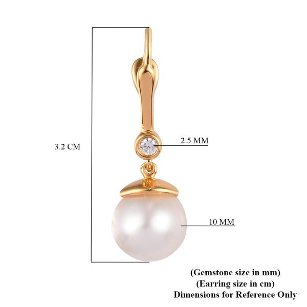South Sea White Pearl and Natural Cambodian Zircon Drop Earrings (with Clasp) in 14K Gold Overlay Sterling Silver