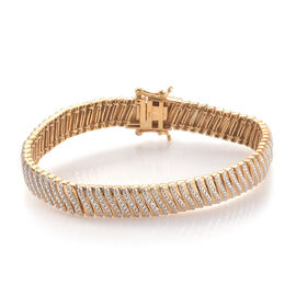Close Out Deal-Diamond (Rnd) Bracelet (Size 7.5) in 18K Yellow Gold Plated