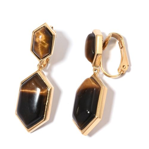 Designer Inspired - Tigers Eye Hexagon Clip-On Drop Earrings (25.00 Ct)