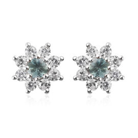 Narsipatnam Alexandrite and Natural Cambodian Zircon Stud Earrings (with Push Back) in Platinum Over