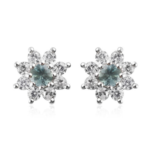 1.25 Ct Narsipatnam Alexandrite and Zircon Stud Earrings in Platinum Plated Sterling Silver