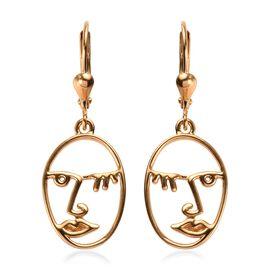 14K Gold Overlay Sterling Silver Lever Back Face Earrings