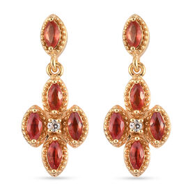 Orange Sapphire and Natural Cambodian Zircon Dangle Earrings (with Push Back) in Yellow Gold Overlay