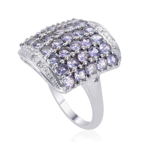 Tanzanite (Rnd), Diamond Cluster Ring in Platinum Overlay Sterling Silver 2.760 Ct.