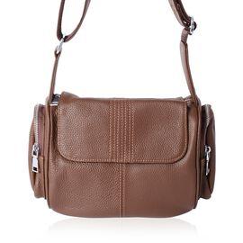 Sencillez 100% Genuine Leather Brown Colour Cross Body Bag with Adjustable Shoulder Strap (Size 22x20x12 Cm)