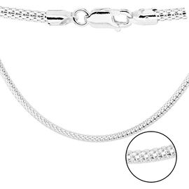 Sterling Silver Mesh Chain (Size 18) with Lobster Clasp, Silver wt 7.60 Gms