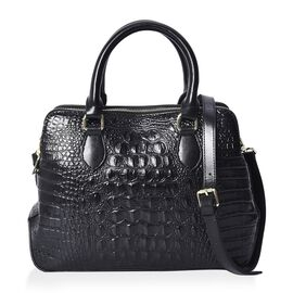 100% Genuine Leather Croc Pattern Satchel Bag with Detachable Shoulder Strap (Size 33x12x23 Cm) - Bl