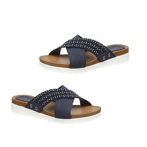 Lotus Navy Sharon Flat Mule Sandals (Size 4)