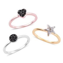Set of 3- Boi Ploi Black Spinel (Rnd), Natural Cambodian Zircon Star Heart Ring in Platinum, Rose an