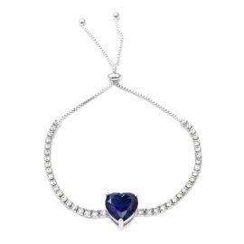 ELANZA Simulated Blue Sapphire (Hrt 12x12 mm),Simulated Diamond Bolo Bracelet (Size 6.5 - 8.5 Adjust