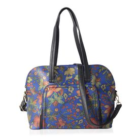 Close Out Deal Blue and Multi Colour Flower Pattern Tote Bag with Removable Shoulder Strap (Size 37x