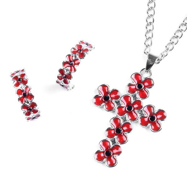 TJC Poppy Design - 2 Piece Set - Black Austrian Crystal Enamelled Floral Pendant with Chain (Size 24