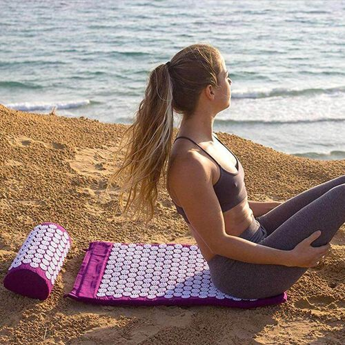 2 Piece Set - Acupressure Mat (58x36cm) and Pillow (36x14x9cm) - Purple and White