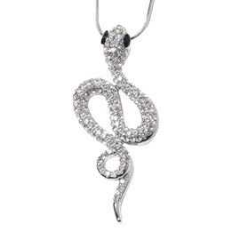 White Austrian Crystal and Simulated Black Spinel Serpent Pendant With Chain (Size 29 with 2 inch Ex