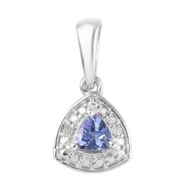 Tanzanite and Diamond Pendant in Platinum Overlay Sterling Silver
