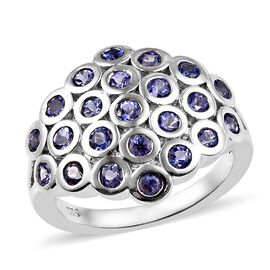 1.50 Ct Tanzanite Cluster Dome Ring in Platinum Plated Sterling Silver