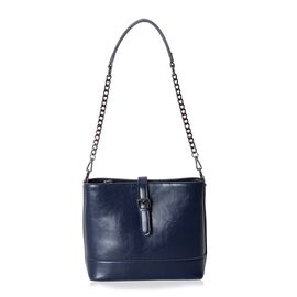 100% Genuine Leather Navy Colour Cross Body Bag with External Zipper Pocket and Removable Shoulder S
