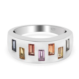 Rainbow Sapphire Band Ring in Platinum Overlay Sterling Silver 1.08 Ct.