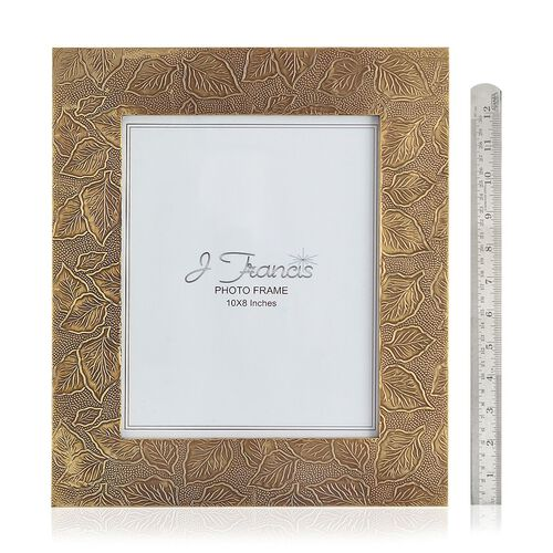 J Francis - Hand Crafted Embossed Brass and Gold Plated Leaf Pattern Wooden Photo Frame (Size 10x8 in)