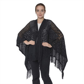 Hollow Out Knit Kimono with Tassels (60x125+10cm) - Black