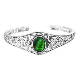 5 Carat Canadian Ammolite Cuff Bangle in Sterling Silver 24.35 Grams 7.5 Inch