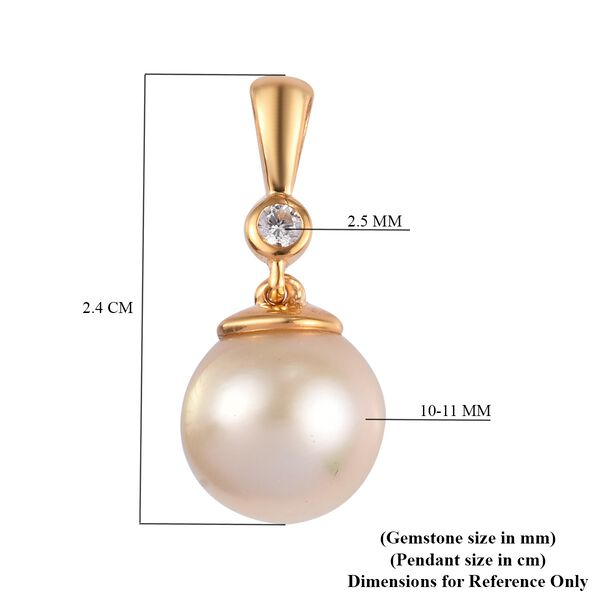 South Sea Pearl and Natural Cambodian Zircon Pendant in 14K Gold Overlay Sterling Silver