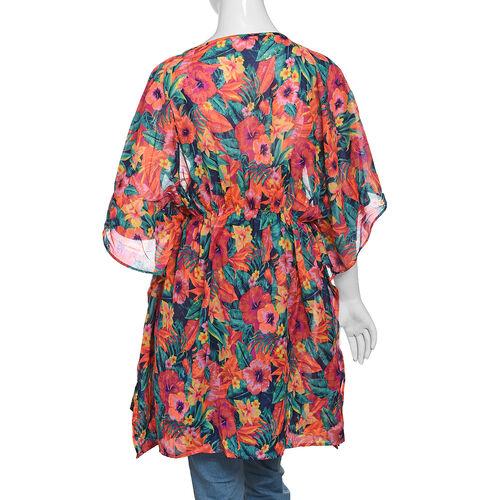 Designer Inspired Green, Orange and Multi Colour Tropical Flower and Leaves Pattern Kaftan (Size 80x65 Cm)