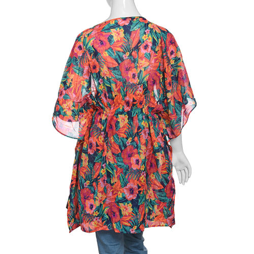Designer Inspired Green, Orange and Multi Colour Tropical Flower and Leaves Pattern Kaftan (Size 80x65 Cm)