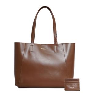 ASSOTS LONDON 2 Piece Set - ADELA Genuine Smooth Leather Tote Bag (31x9.5x26.5cm) & Matching RFID FANN Cardholder (10x8cm) - Tan