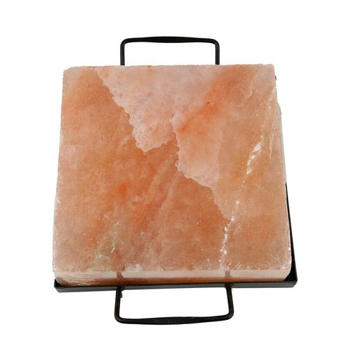LIMITED AVAILABLE- Himalayan Salt Square Cooking Plates with Metal Holder (Size: 21x21, Weight: 5.5kgs)