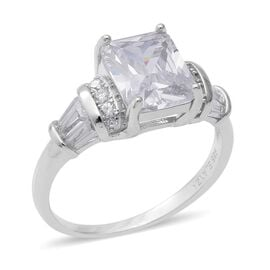 ELANZA Simulated Diamond Solitaire Ring in Rhodium Plated Sterling Silver 3.51 Grams