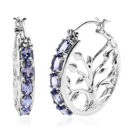 Tanzanite (Ovl) Tree of Life Hoop Earrings in Platinum Overlay Sterling Silver 2.50 Ct, Silver wt 8.