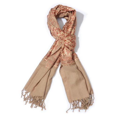 Limited Available 100% Merino Wool Floral Embroidered Beige Colour Shawl with Tassels (Size 200x70 C